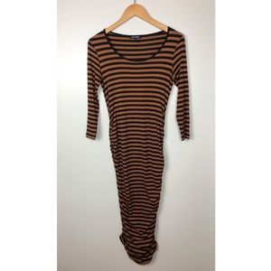 Isabella Oliver Camel Black Stripe Midi Dress